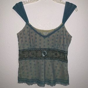 Odille Anthropologie Blouse Tank Lace Embroidered